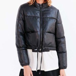 Silence + Noise Faux Leather Puffer Jacket